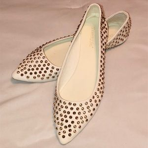 White Gold Studded Flats